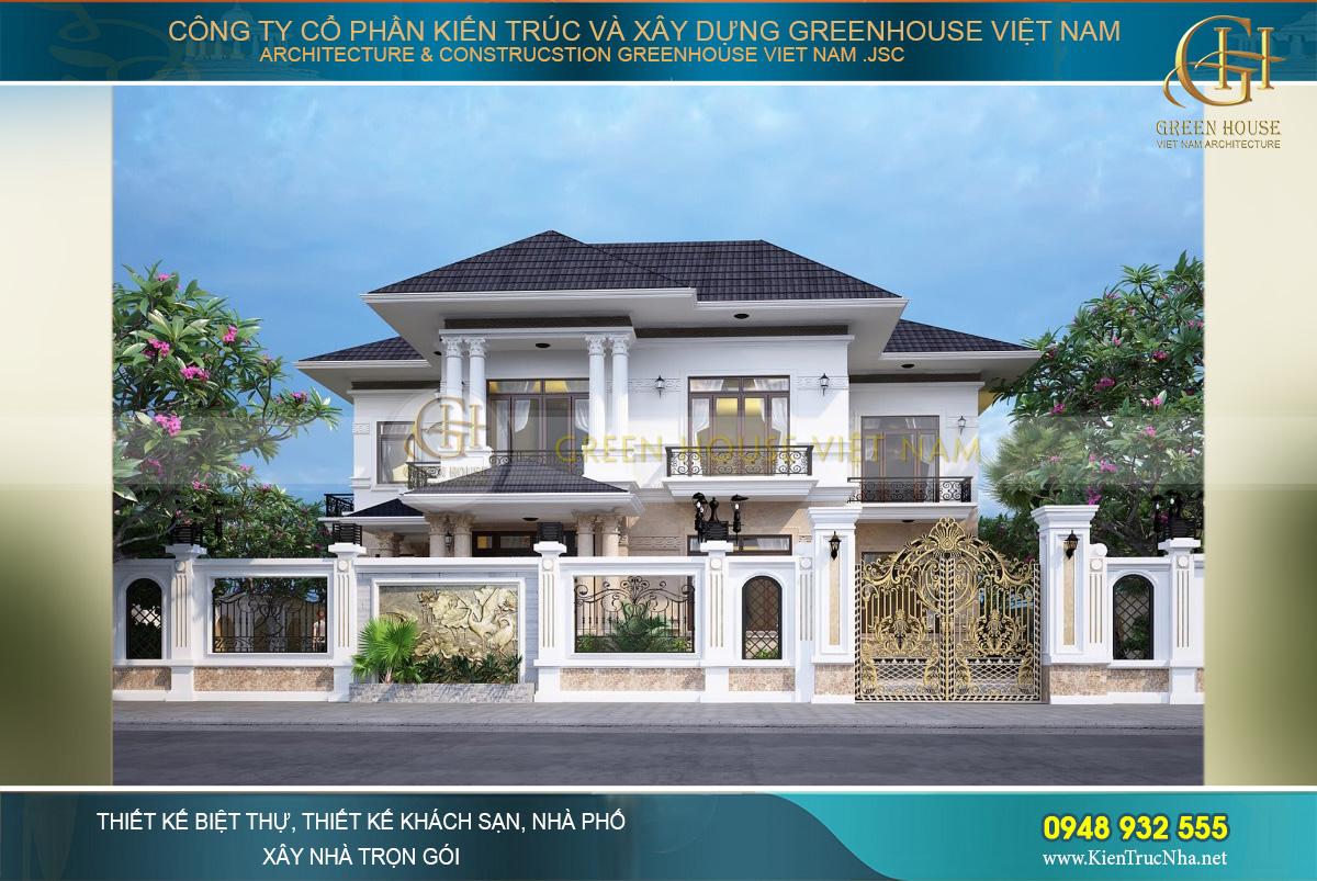 Biệt thự tân cổ điển 2 tầng mái Thái