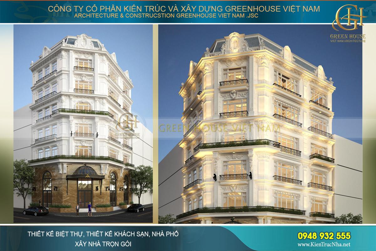 Mẫu biệt thự phố kết hợp kinh doanh 6 tầng 3 mặt tiền