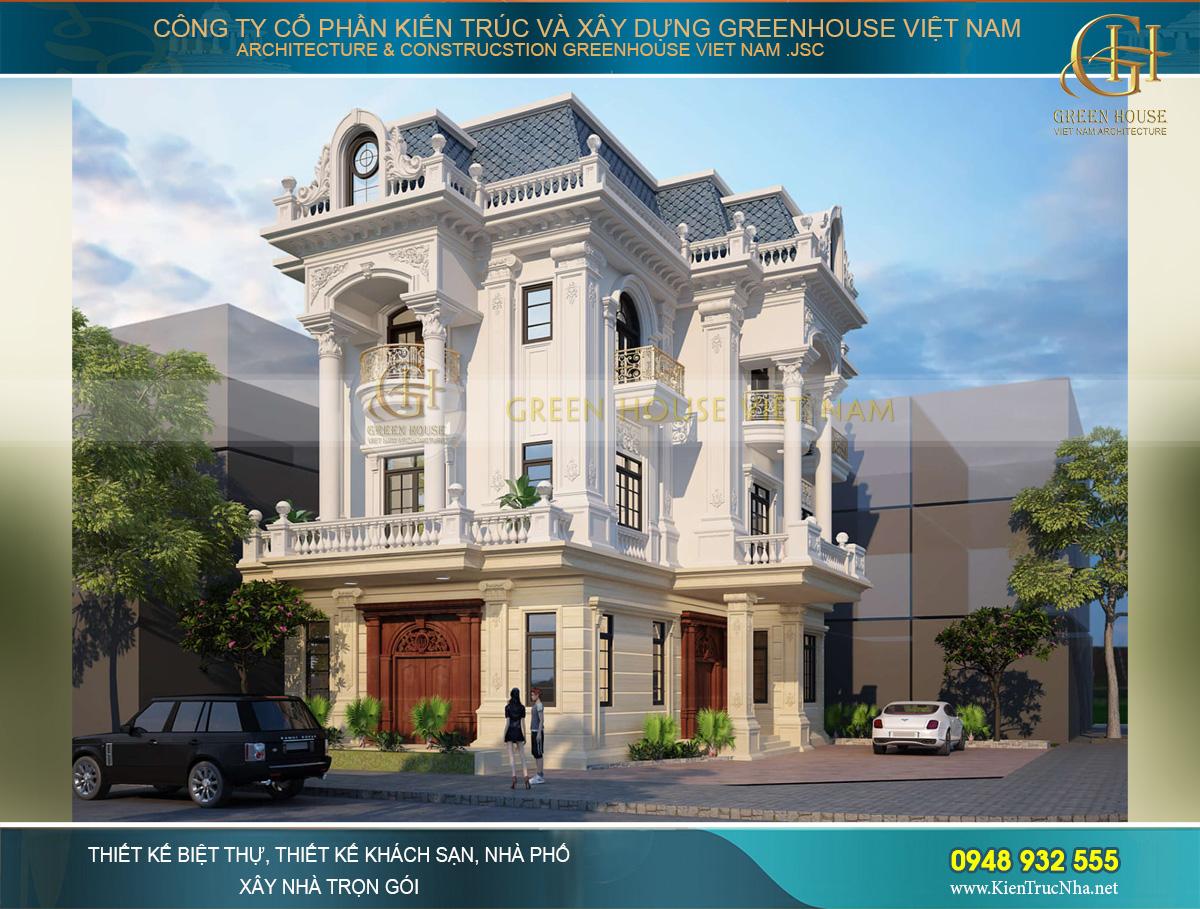 Thiết kế biệt thự tân cổ điển 3 tầng diện tích 260m2