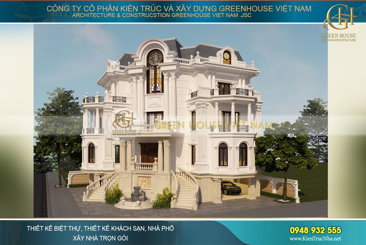 thi công trọn gói biệt thự tân cổ điển 3 mặt tiền tại Bắc Giang