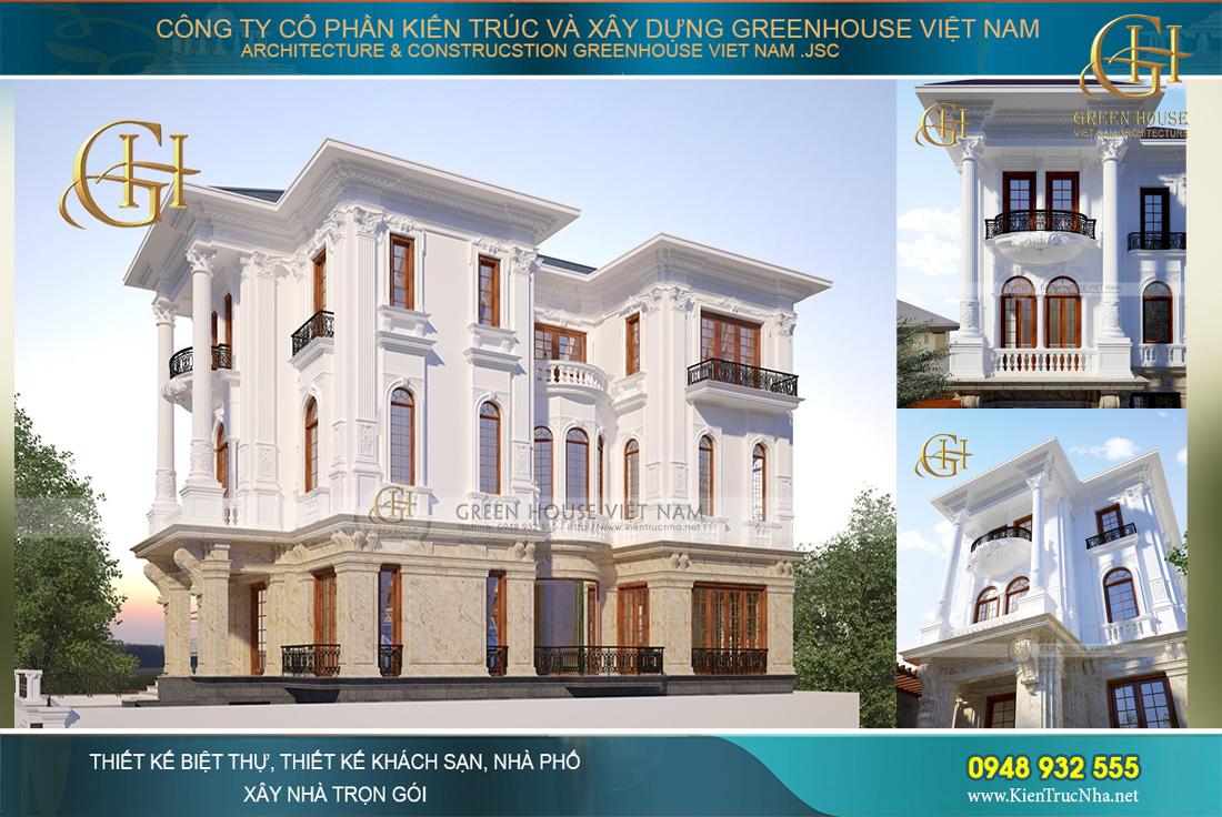 thiết kế biệt thự tân cổ điển 3 tầng lầu đẹp