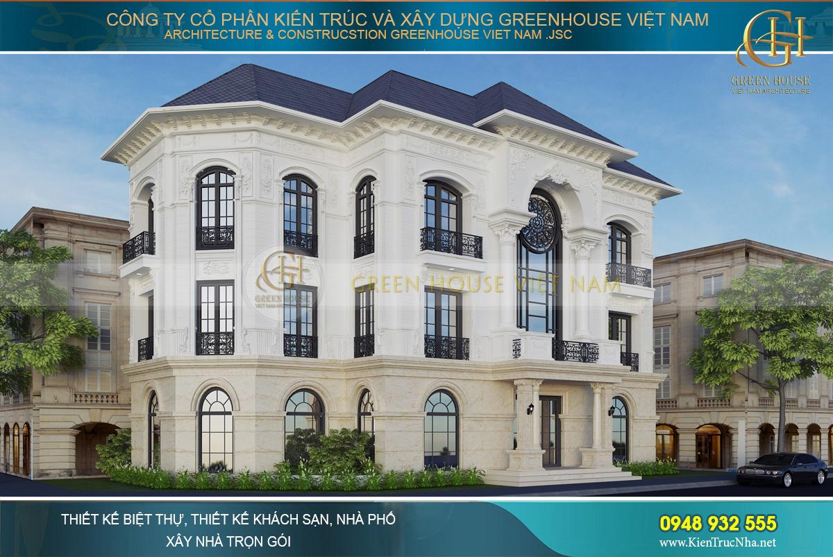 thiết kế biệt thự tân cổ điển 4 tầng tại vinhomes hà nội