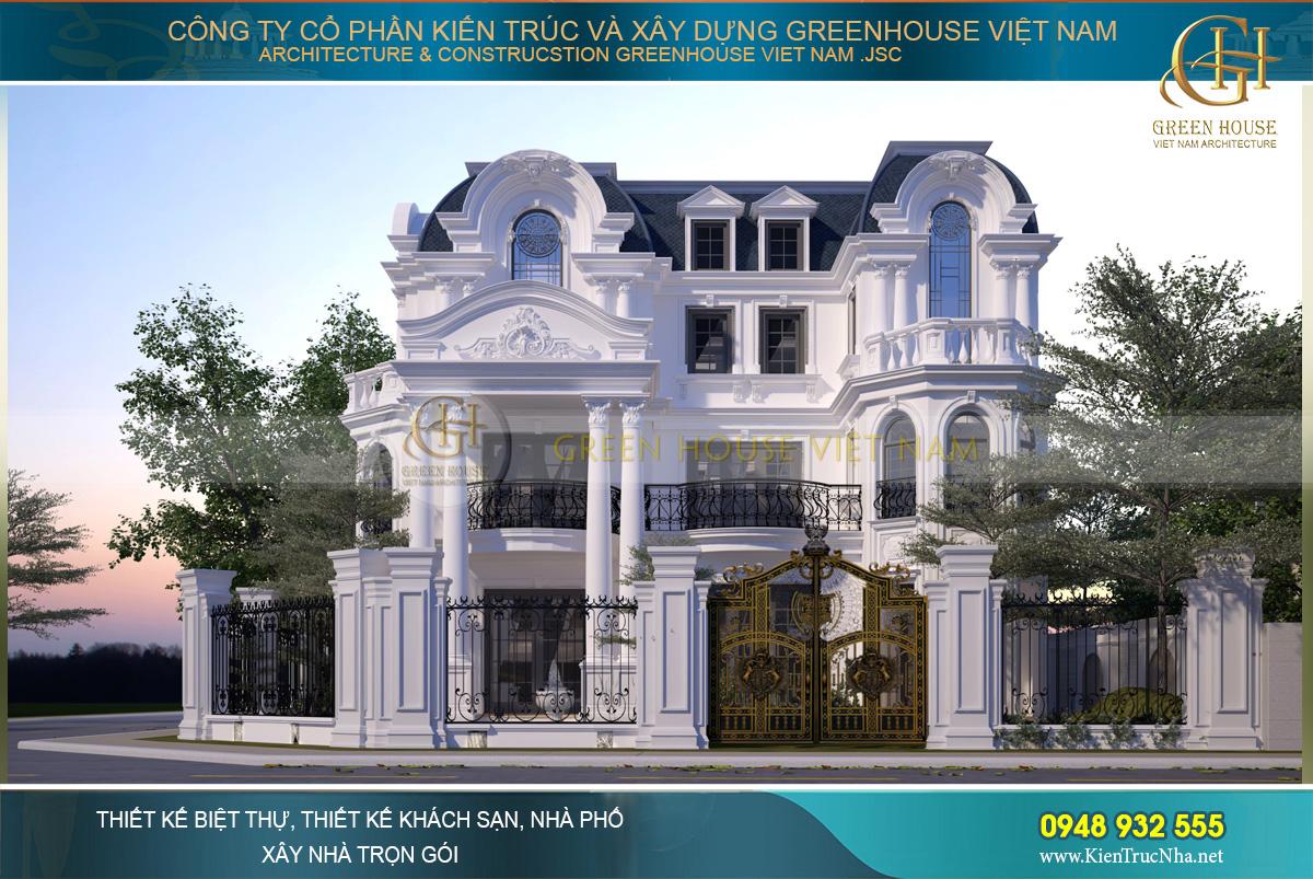 Thi công trọn gói biệt thự tân cổ điển 3 tầng 1 tum tại Hà Nội