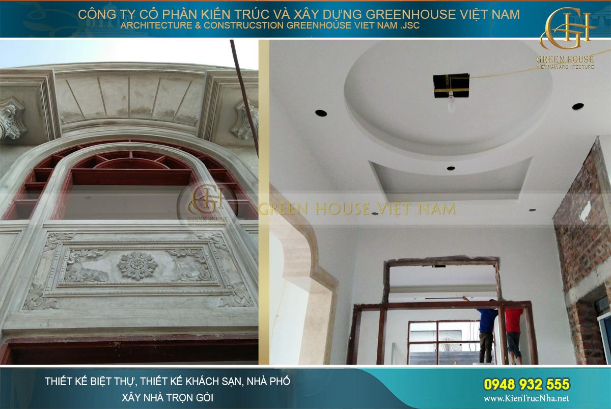 thi công thực tế biệt thự tân cổ điển 3 tầng tại Bắc Giang