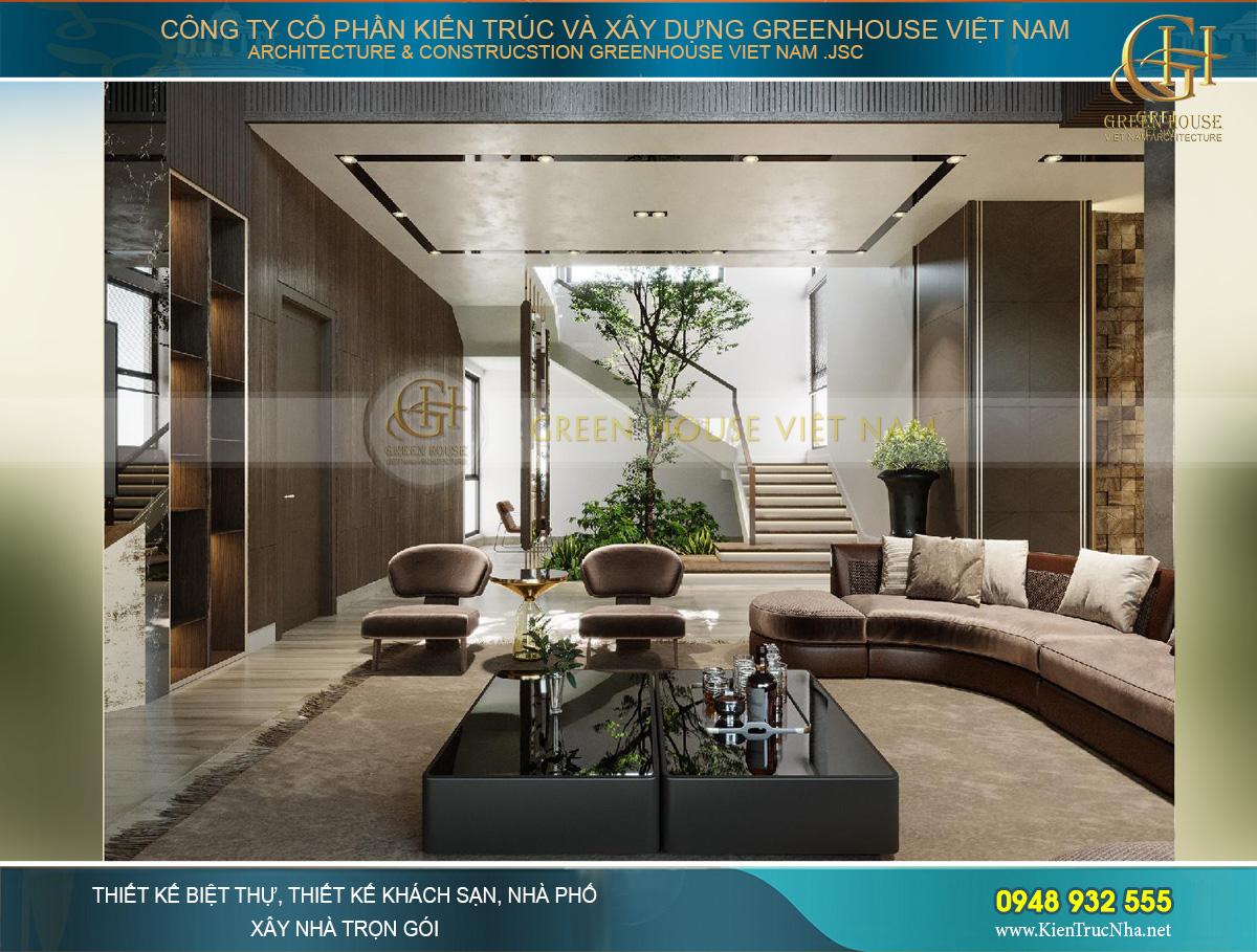 thiết kế nội thất biệt thự hiện đại 2 tầng 460M2