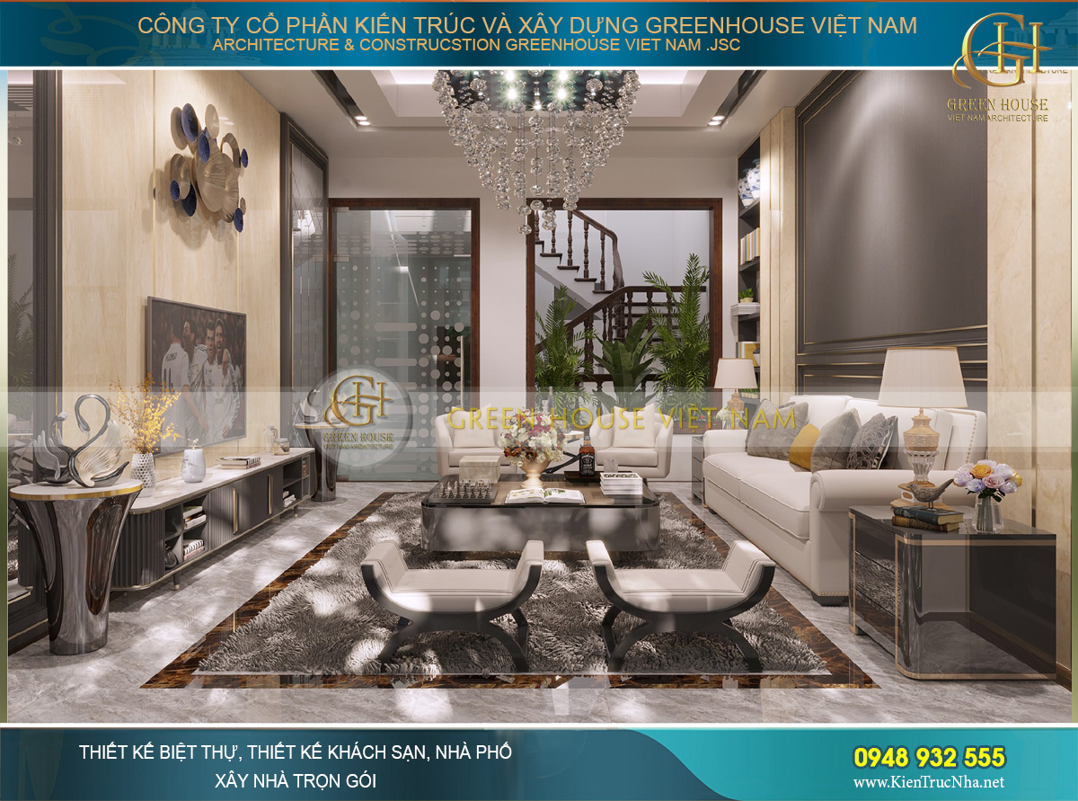 Thiết kế nội thất phòng khách hiện đại của nhà phố 4 tầng