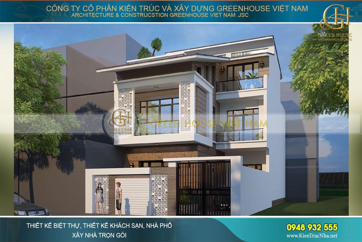 Thiết kế nhà phố hiện đại 3 tầng mặt tiền 10m