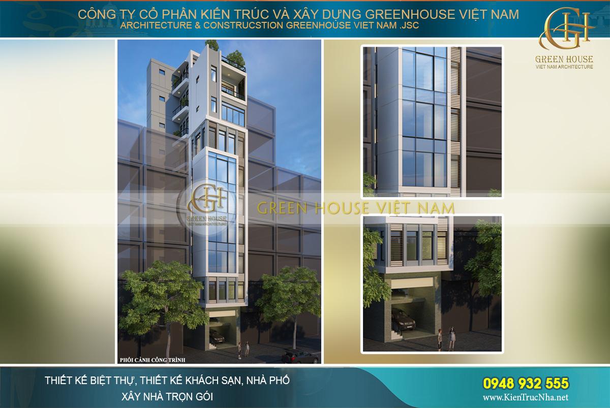 Thiết kế nhà phố kết hợp kinh doanh hiện đại 9 tầng