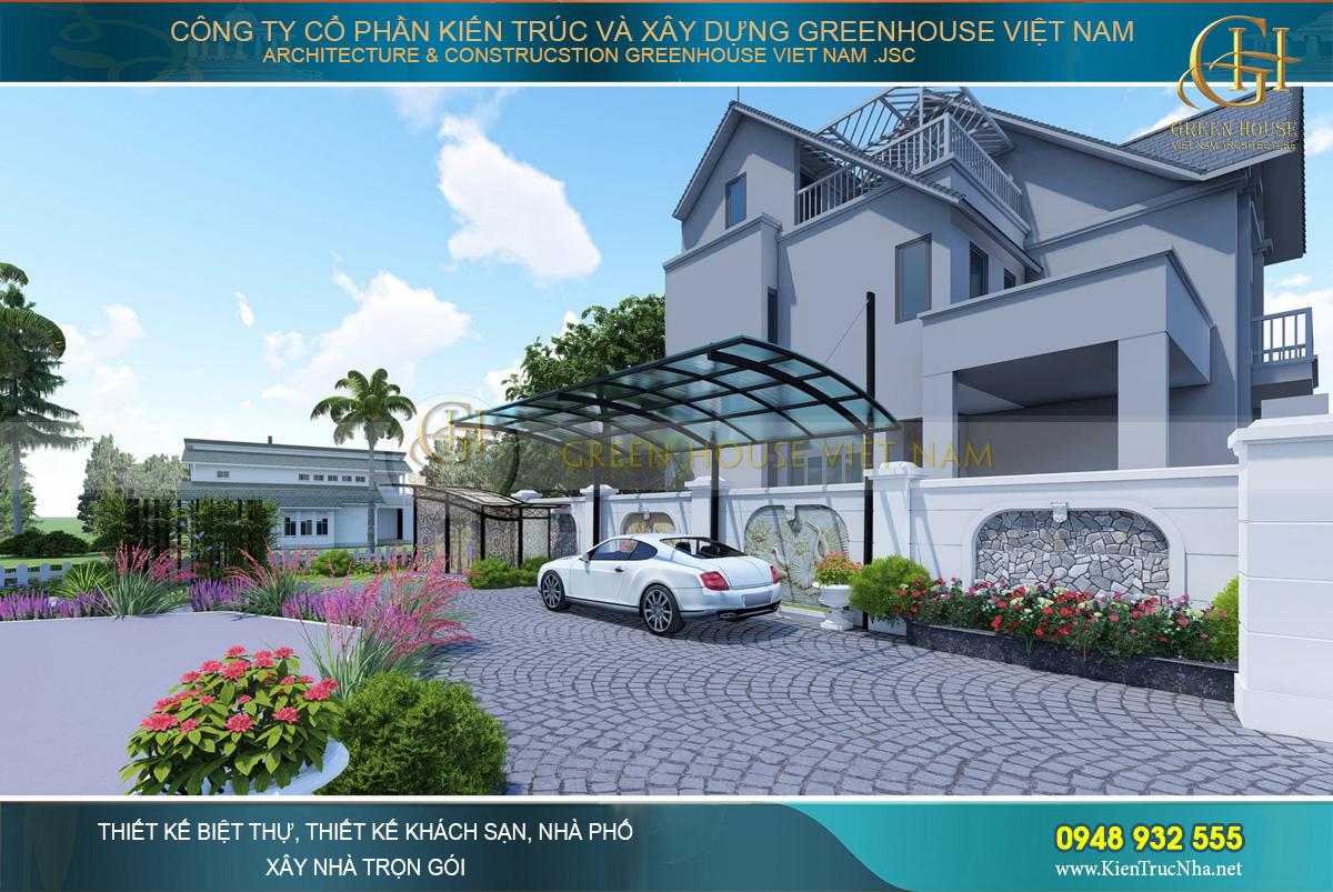 thiết kế sân vườn biệt thự ven sông đẳng cấp