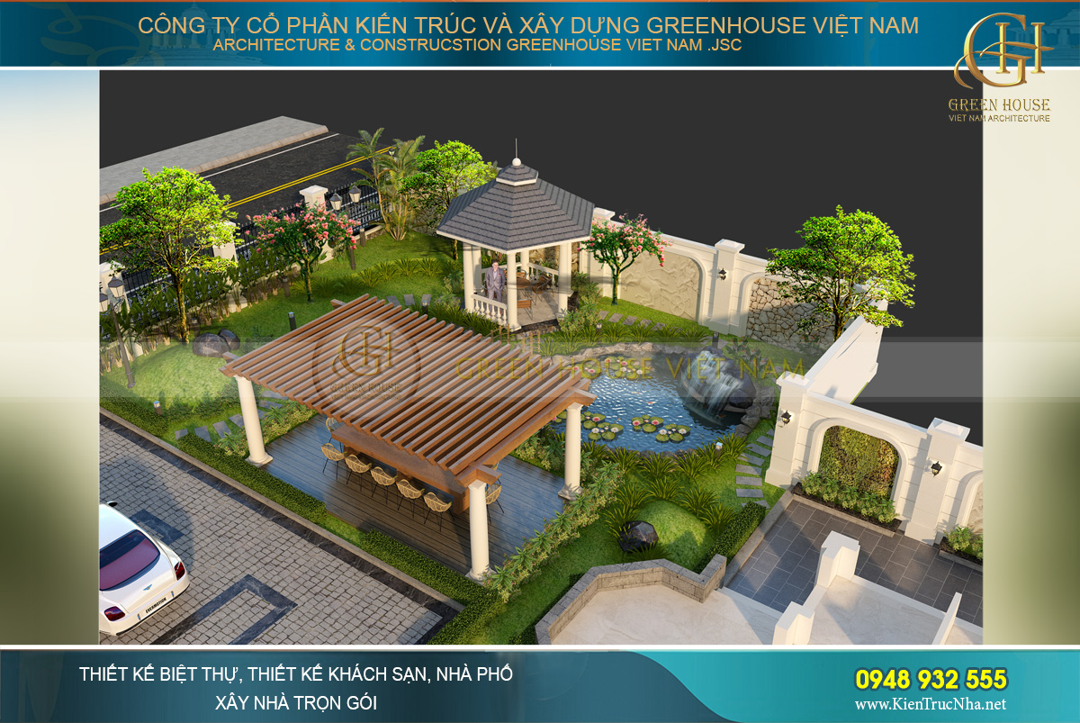 thiết kế sân vườn biệt thự tại bắc giang