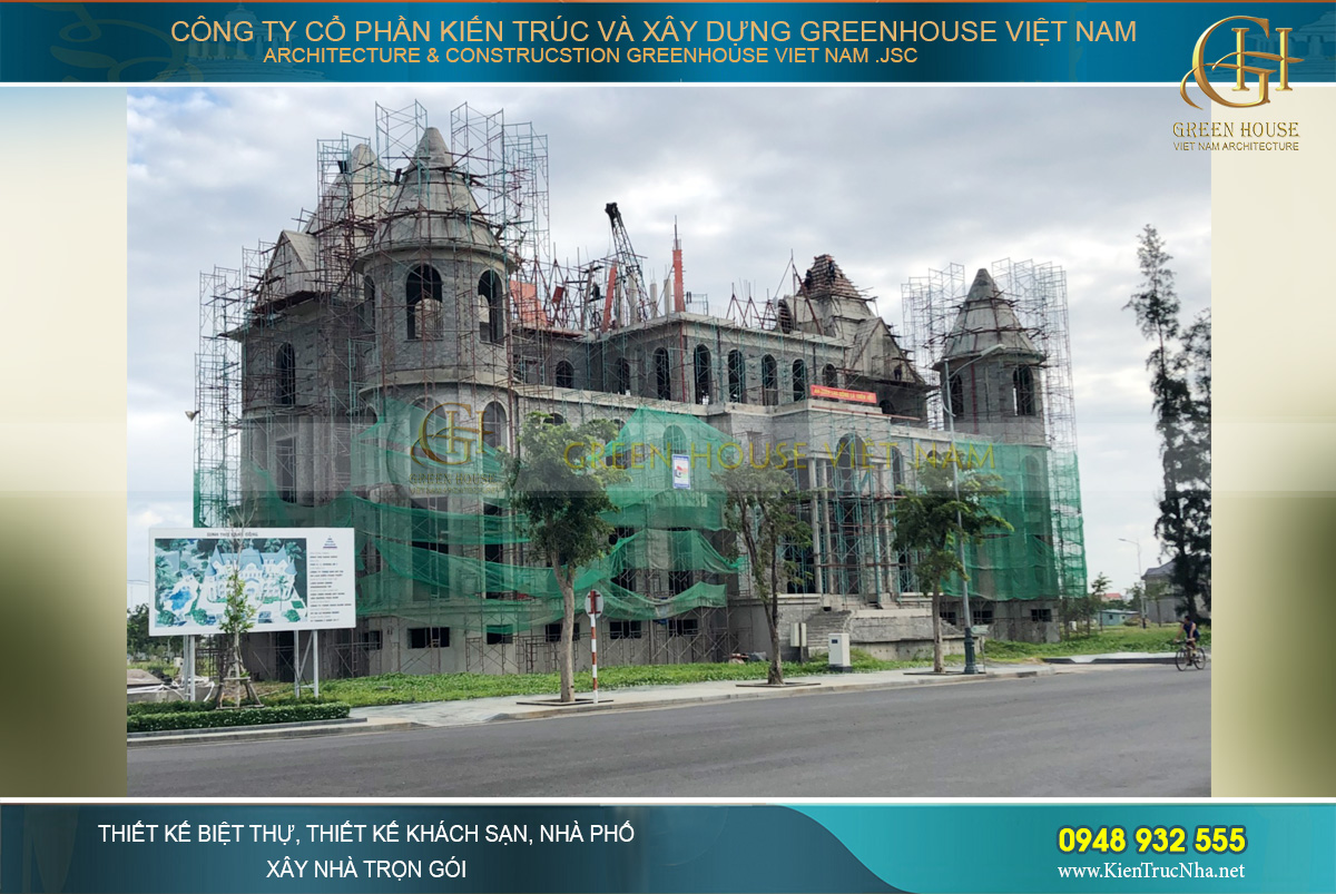 thi công trọn gói dinh thự Pháp 3 tầng tại Phan Thiết