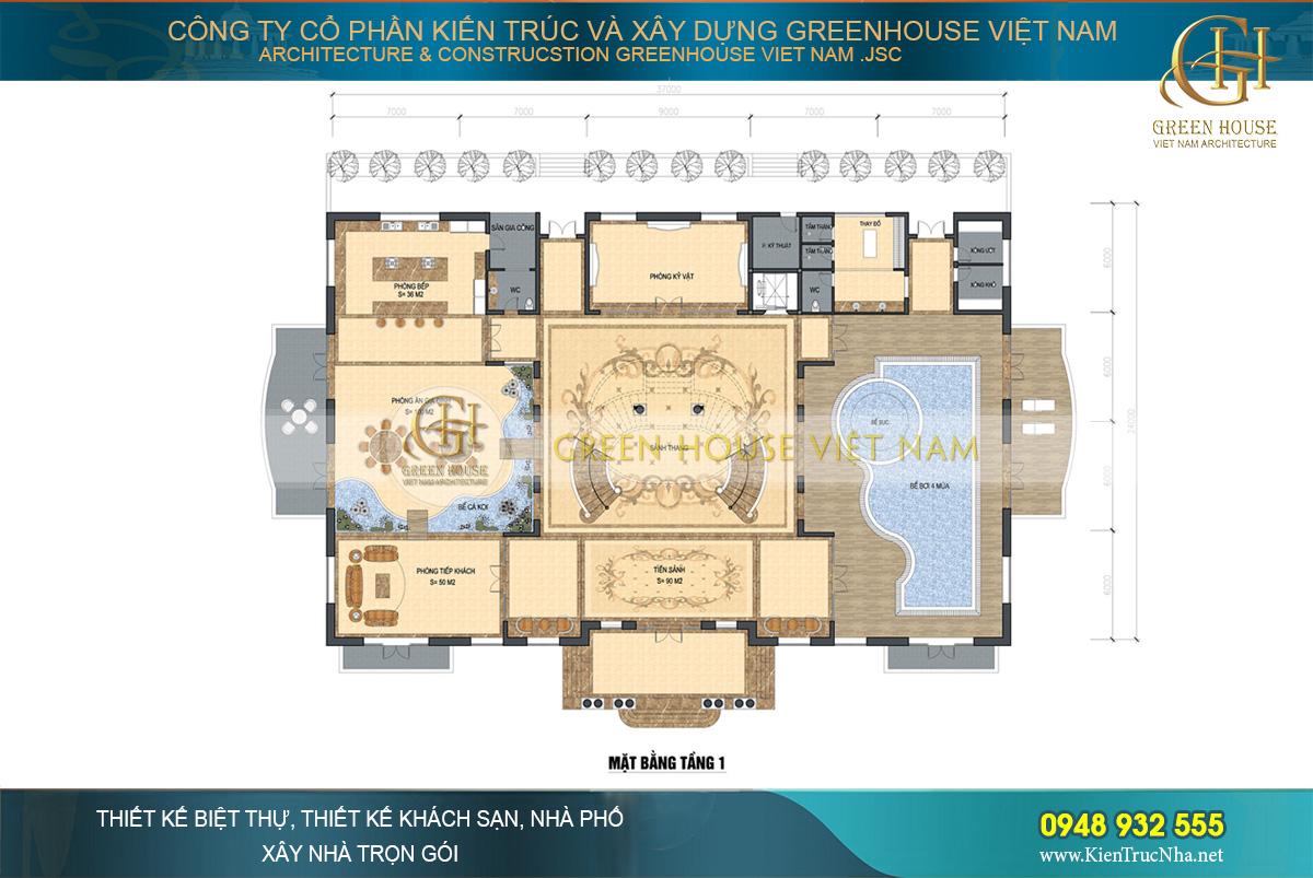 dinh thự tân cổ điển 2 tầng diện tích 170m2 (11x15m)
