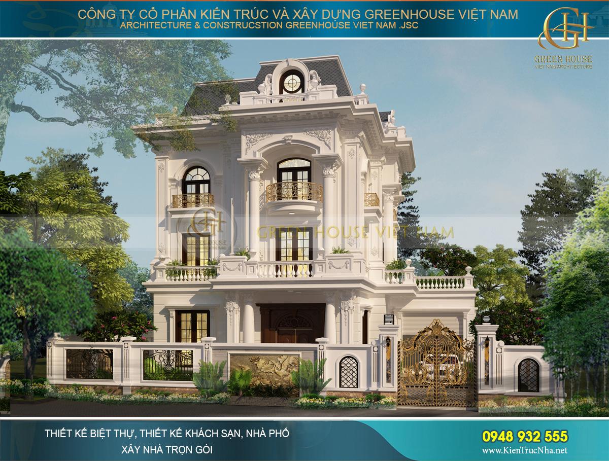 Thiết kế biệt thự tân cổ điển 3 tầng 400m2