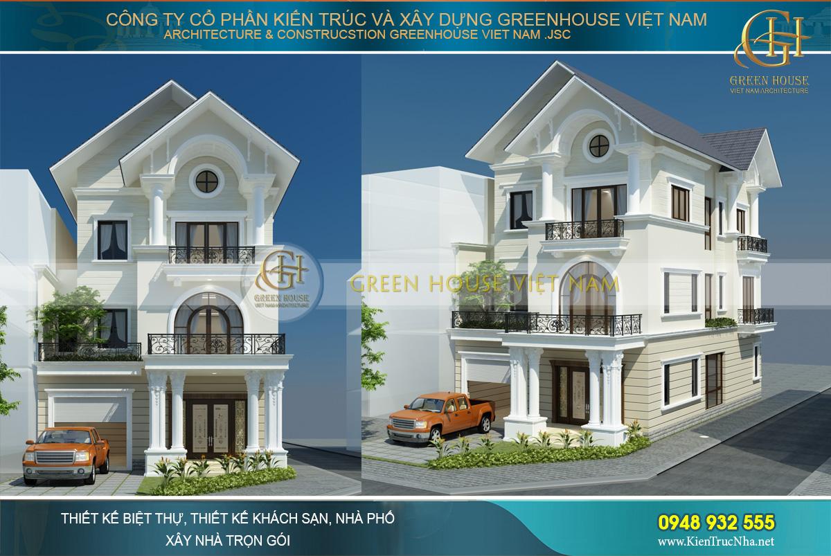 Biệt thự tân cổ điển 3 tầng mái Thái