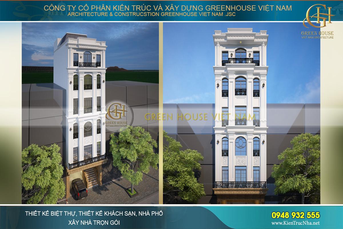 Mẫu nhà phố tân cổ điển 6 tầng kết hợp kinh doanh